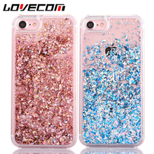 LOVECOM Dynamic Liquid Glitter Colorful Paillette Sand Quicksand Hard Back Cover Phone Case For iPhone 6 6S 7 7 Plus(China)