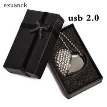 4GB 8GB 16GB 32GB Silver Diamond Heart USB 2.0 Flash Drive Memory Stick with a nice Gift Box