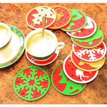10pcs/lot Christmas water glass mat restaurant dinning table Insulation pad coffee coaster christmas decorations wholesale