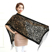 2015 New Hot Black Zebra Print Scarves Women Burnout Velvet Shawl Female Spring Winter Lovers Gift For Mom Wife Free Shipping(China)
