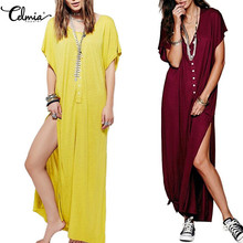Buy Celmia 2018 Summer Women Maxi Dress Sexy V Neck Short Sleeve Side Split Long Dresses Casual Loose Beach Vestidos De Festa S-3XL for $10.14 in AliExpress store