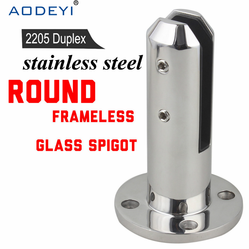 Glass Spigots Round Balustrades &amp; Handrails 2205 Stainless Steel Glass Spigot Pool Fence Frameless Balustrade Spigots Clamp <br>