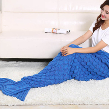 High Quality Tail Blanket Solid Warm Home Sofa TV Blankets For Adults Mermaid Blanket Top Sale Soft Handmade Knitted Mermaid(China)