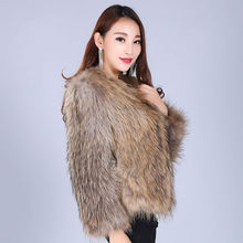 MEEFUR 2017 New Natural Brown Real Raccoon Fur Coats Womens Knitted Fur Jackets Spring Outwear Nine Sleeve AU00930