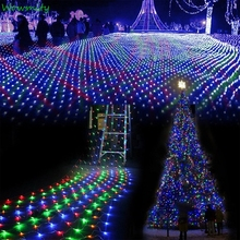 1.5x1.5m 96 Leds 7 color modes 220V net led string light Festival Christmas decoration New year wedding ceremony Waterproof(China)