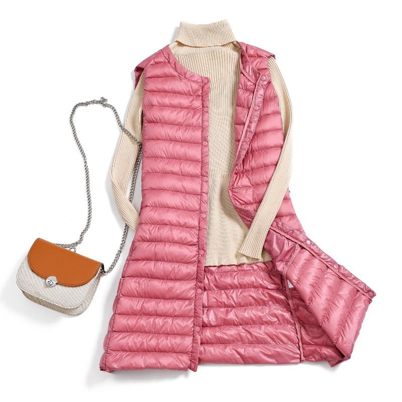 Long Winter Women Light Down Jacket 90% White Duck Down Coat Jackets Sleeveless Warm Slim Waistcoat Parka Female Parkas Outwear