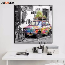 Black White Streetscape Vintage Colorful Car, Canvas Print Painting Poster, Home Decor Painting Wall Pictures For Living Room