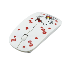 2016 Ergonomic Mouse 2.4Ghz Ultra Thin Slim Women Wireless Mouse Sem Fio Mini Cute Hello Kitty Mice Mause for Computer Girl Gift