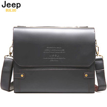 JEEP BULUO Man Business Briefcase Bag High Quality Pu Leather Men Briefcases Office Work Bags Famous Brand Large Size Bag 39503A