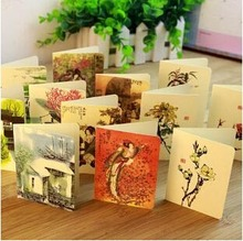 Free ship!1lot=56pc!Nice new model Creative birthday retro chinese style wishes  greeting card / cute  holiday Wedding Cards