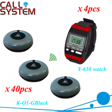 Communication system for Restaurant guest pager services 40pcs table bell with 4 wrist hand watch reciever wireless(China)