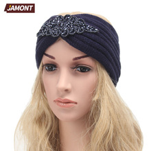[JAMONT] Ladies Jewel Headband Hair Accessories Winter Warm Floral Stretch Turban Headwear Soft Knit Crochet Headwrap Q3317