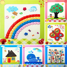 5 designs/Creative kids Sticky Art Educational Handmade Toys DIY Button to Craft Painting For Over 3 Years Kid Children(China)