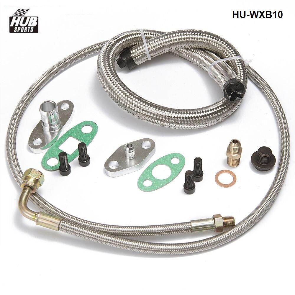 Turbo charger Oil Drain Return+Feed Line T3 T4 T60 T61 T70 Complete Kit HU-WXB10