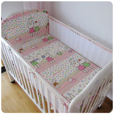 Promotion! 5PCS 3D Breathable Mesh Cot Set Crib bed 100% cotton baby Bedding set ,include(4bumpers+sheet)<br>