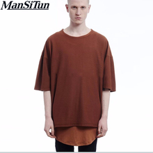 Buy Man si Tun Fashion Summer T shirt Kanye West Oversize Color Dark Grey T-shirt Fear god half T-shirt Season 3 Justin Bieber for $8.57 in AliExpress store