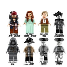 Single Legoing Pirates of the Caribbean Captain Jack Will Turner Elizabeth Salazar Movie DIY Dolls Building Blocks Toy For Kids