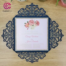 50pcs/set  free envelop and free seal Elegant Flora Design with glitter layer laser cut invitation Navy blue with pink