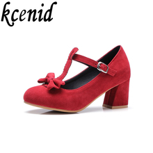 New fashion T-strap office dress shoes women pumps 6 cm high heel shoes sweet bowtie Mary Janes red black shoes plus size 32-48