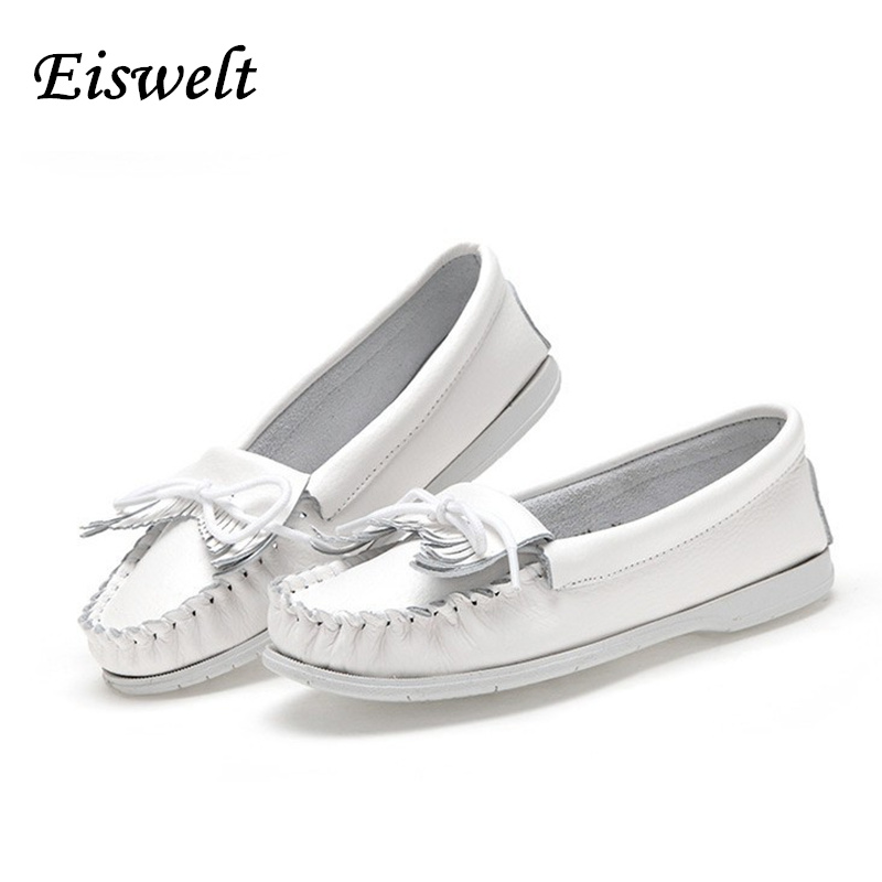 EISWELT 2017 Women Shoes Women Flats Woman Tassel Fringe Ballet Flats Loafers Moccasin White Nurse Shoes Female Shoes#ZS13<br><br>Aliexpress