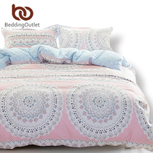 BeddingOutlet Warm Pink Bedding Clearance Cotton Bedclothes Printed mandala Bed Linens Gift for Girls Duvet Cover 4PcsQueen Size