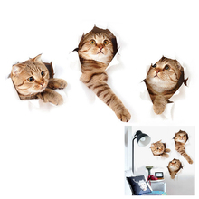 HOT GCZW-3D Removable Large Cat Stickers Cartoon Funny Cat to Stick Safe Art(China)