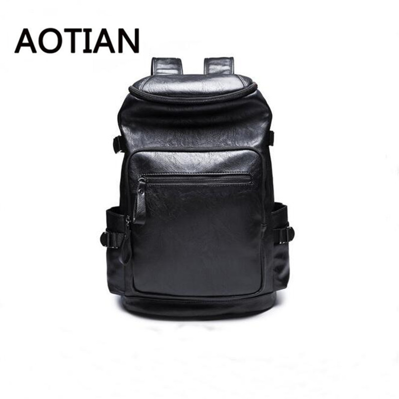 New Arrival 2017 Male Functional Bags Fashion Men Backpack PU Leather Backpack Big Capacity Men Bags Travel Mochilas Bagpack<br>