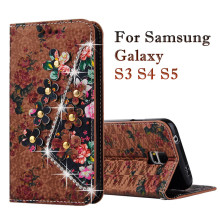 Flip Wallet PU Leather Case for Samsung Galaxy S3 S4 S5 Luxury Flip Magnetic Stand Phone Cover Mobile Phone Bag with Card Slots