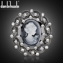 danbihuabi Newest Cameo Vintage Brooches and Pins for Women Wedding Jewelry Accessories Luxurious Rhinestone brooch for girls