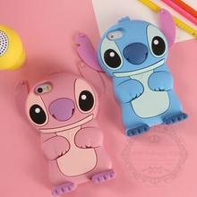 Lovely 3D Cartoon  Soft Rubber Skin Silicon Silicone Cute Stitch Case Cover for iPhone 4 4S 5 5S SE 6 6S 7 Plus With Movable Ear