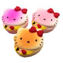 Squishy Hello Kitty Slow Rising Wholesale Kawaii Squishies Cell Phone Charm Straps Squeeze Toys For Children Christmas Gifts(China)