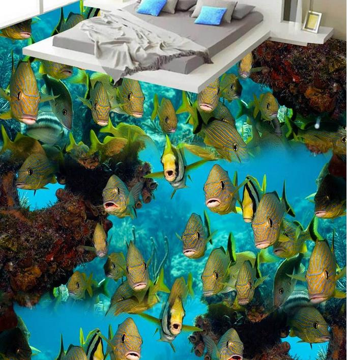 custom vinyl flooring bathroom mural Coral reef fish 3d pvc flooring waterproof murals wallpaper 3d flooring photo wall murals<br>