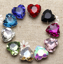 50pcs 12mm Crystal Mix Color Heart Sew On Rhinestone With Claw Setting Silver Back Fancy Stone With Metal Claw With Holes
