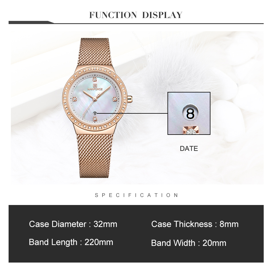 NAVIFORCE New Rose Gold Women Watch Business Quartz Watch Ladies Top Brand Luxury Female Wrist Watch Girl Clock Relogio Feminin (2)