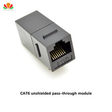 CAT6 unshielded pass-through module Gold-plated UTP network module RJ45 connector Cable adapter Keystone Jack
