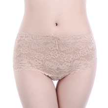Buy Underwear Women Sexy Panties Big Size Female Brand Lace Briefs Breathable Embroidery Mid-rise Ladies Flower Pattern Panties