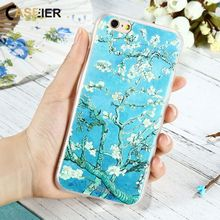 CASEIER Vintage Floral Relief Case For IPhone 6 6s 7 Plus Luxury Flower Oil Painting Cover For Samsung Galaxy S6 S7 Edge Coque(China)