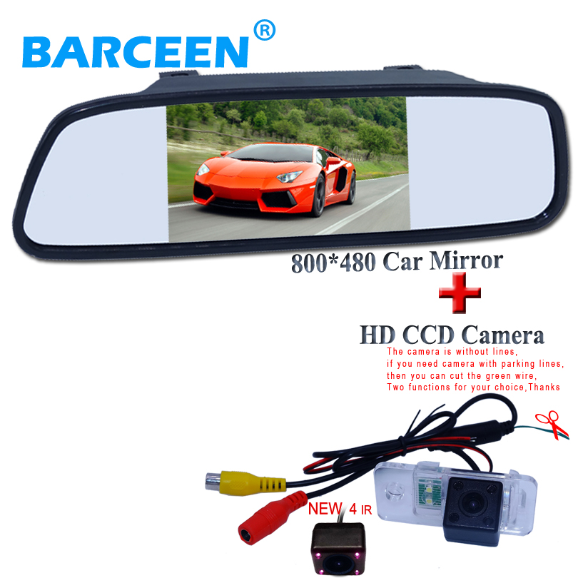 "Hot selling car rearview mirror 5"" wide screen + new arrival car reversing camera 4 ir fit for AUDI A6L 2009~2011 /A4 /A3/ Q7/S5(China)"