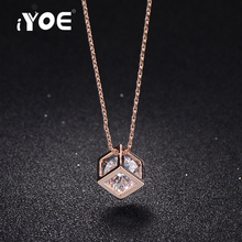 IYOE Simple Magic Cube Pendant Necklaces For Women Rose Gold Color Trendy Chain Zirconia Necklace Collar Jewelry