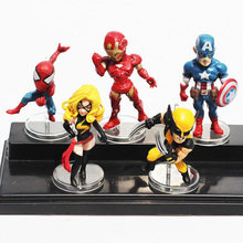 5pcs/set Q Version The Avengers Spider man Iron Man Wolverine Black Widow Captain America Figure Toys PVC Doll Gift For Boy