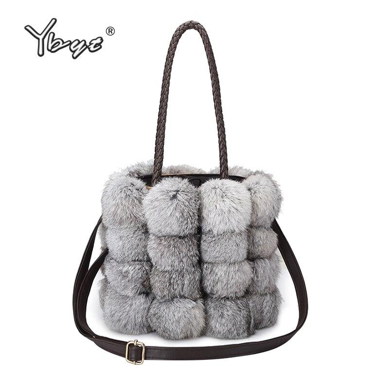 YBYT brand 2018 new fashion women fur handbags Bucket bag ladies evening party package female shoulder messenger crossbody bags<br>