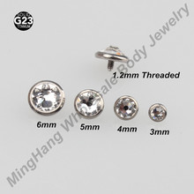 4 pieces of Retail Flat CZ Titanium G23 Micro Dermal Anchor ( 3mm 4mm 5mm 6mm) Tops Piercing Skin Diver Piercing Jewelry(China)