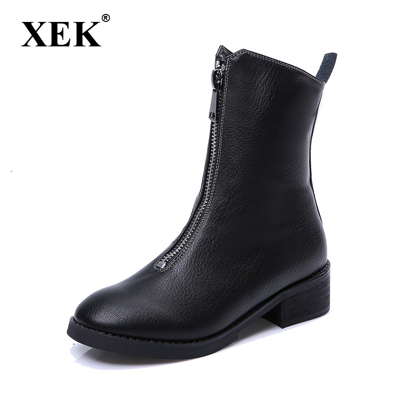 High Quality Genuine Leather Boots Women 2017 New Sexy Front Zip Motorcycle Boot Fashion Autumn Winter Fur Women Snow Boots XC77<br>
