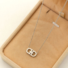 2017 new jewelry necklace two D link hinge shape Pendants & necklace, charms trendy style letter chokers necklaces for women(China)