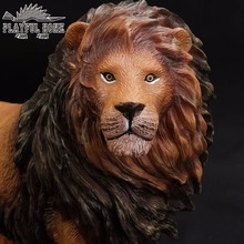 Certified Goods Large Lion Model 3D Animal Soft PVC Stuffed Action Figures Toy For Children Kid Anime Figma Handmade Gift(China)
