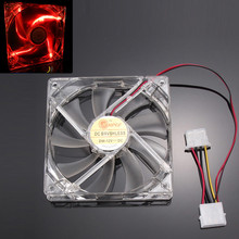 Malloom 2017 Top Sale Red Quad 4-LED Light Neon Clear 120mm PC Computer Case Cooling Fan Mod Cooler Accessories Free shipping