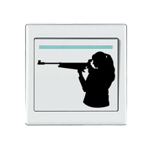 Cool Girl Shooting Sport Vinyl Light Switch Sticker Decor Wall Door Decal 5WS0224