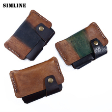 Brand Vintage Casual Handmade 100% Genuine Leather Cowhide Men Women Mens Short Mini Slim Wallet Wallets Coin Puse Card Holder(China)