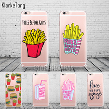 Luxury Fast Food French Fries Case For iphone 6 6S 5 5s se 7 7Plus 8 X Transparent Silicone Back Cover Cell Phone Cases(China)