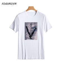 FOGIMOYA T Shirt Women 2017 Summer Sequined Top Women's Short Sleeve T Shirts Double Colors Write Letters Tee Tops Couples Tee(China)